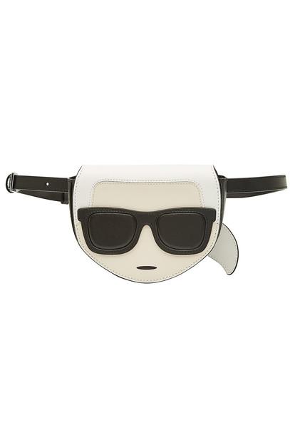 Karl Lagerfeld K/Ikonik Leather Belt Bag  in black
