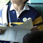shirt,blue,yellow,collar,flower embroidery