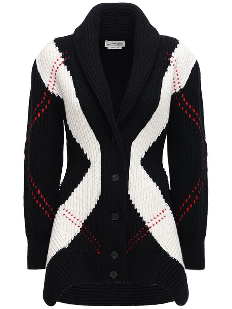 ALEXANDER MCQUEEN Wool & Cashmere Knit Long Cardigan in black / ivory / red