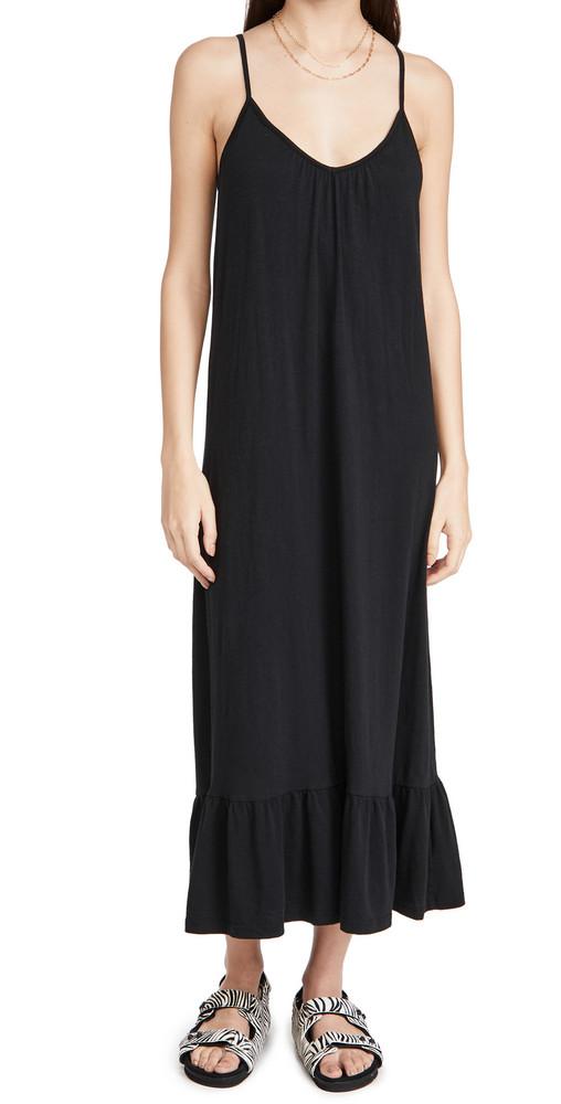 SUNDRY V Neck Strap Maxi Dress in black