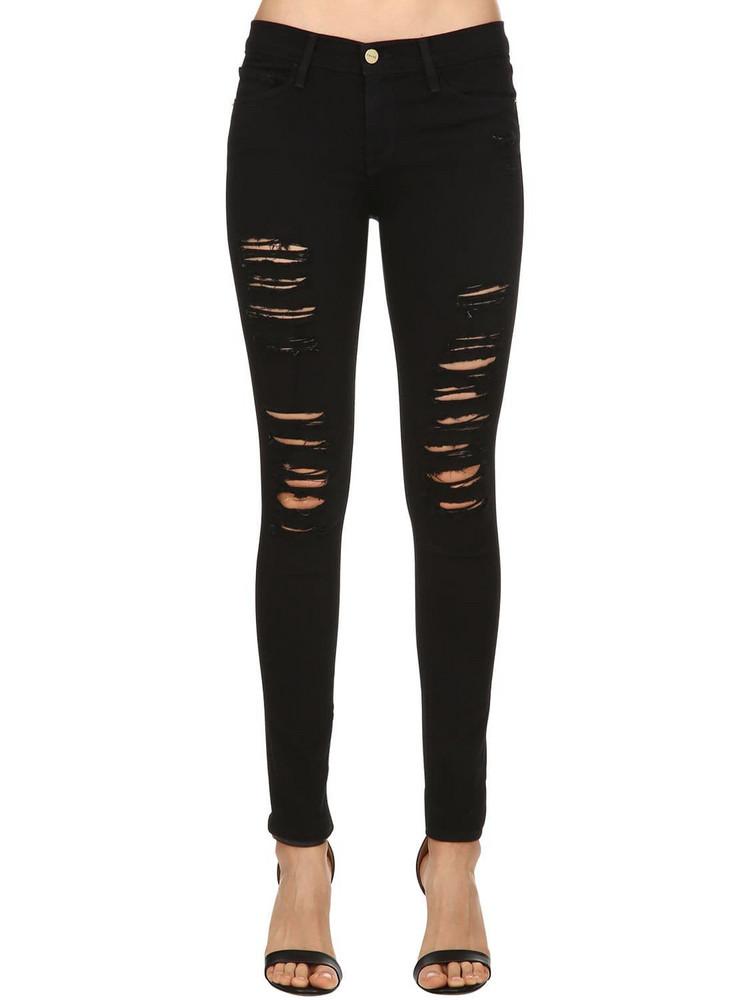 FRAME Skinny Le Color Destroyed Denim Jeans in black
