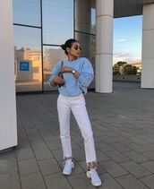 jeans,white jeans,cropped jeans,white sneakers,sweater,bag