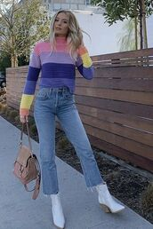 sweater,stripes,lauren bushnell,celebrity,fall outfits,boots,denim,jeans