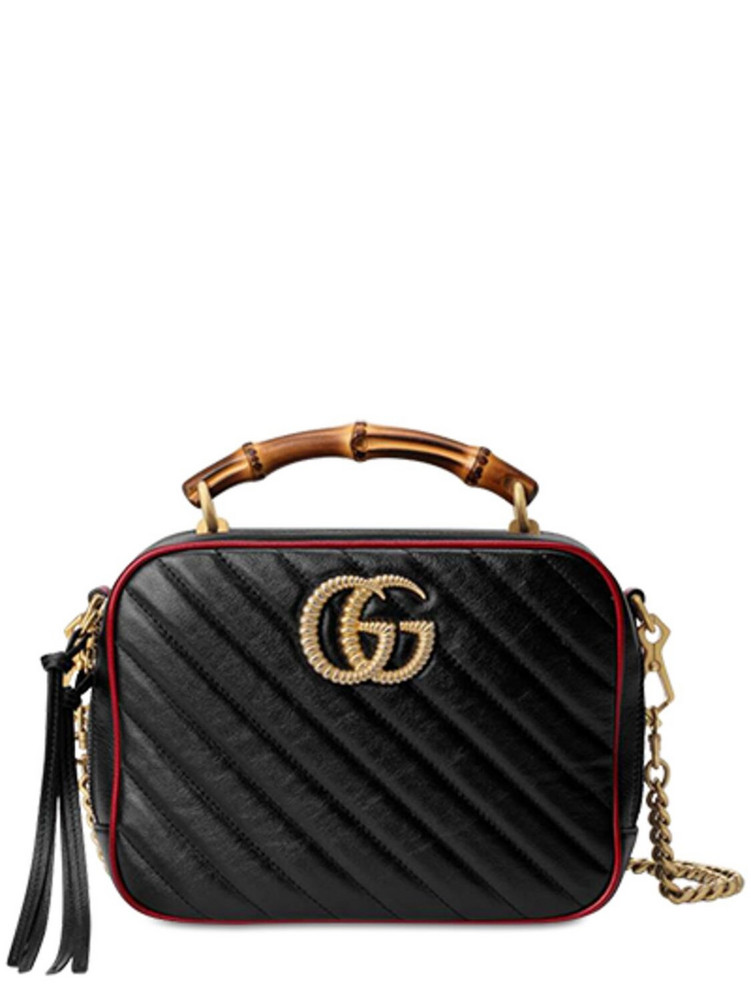 GUCCI Gg Marmont Bamboo Shoulder Bag in black / red