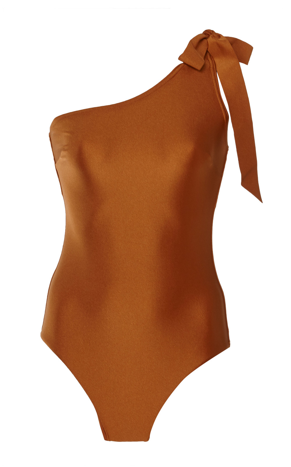 Zimmermann Venetoa Asymmetric One-Piece Swimsuit in brown
