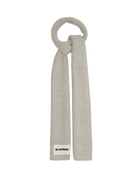 Jil Sander - Logo-label Wool-blend Scarf - Womens - Grey