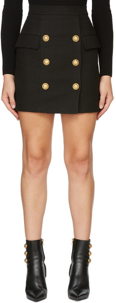 Balmain Black Double-Buttoned Skirt in noir