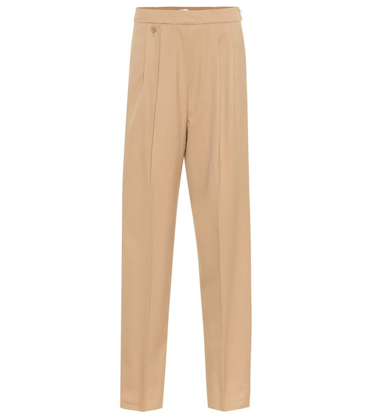 Agnona High-rise wool and cashmere pants in beige