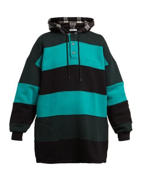 Balenciaga - Striped Cotton Sweatshirt - Womens - Black Green