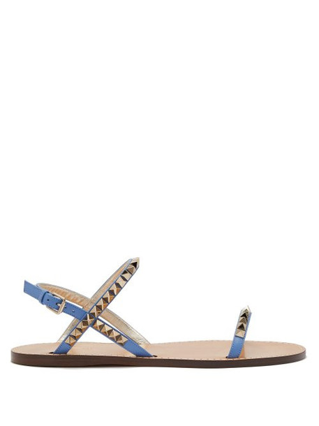 Valentino - Rockstud No Limit Leather Sandals - Womens - Blue