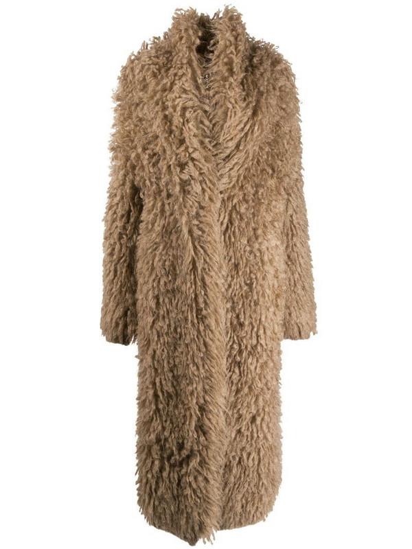 Brunello Cucinelli fluffy button-front coat in brown