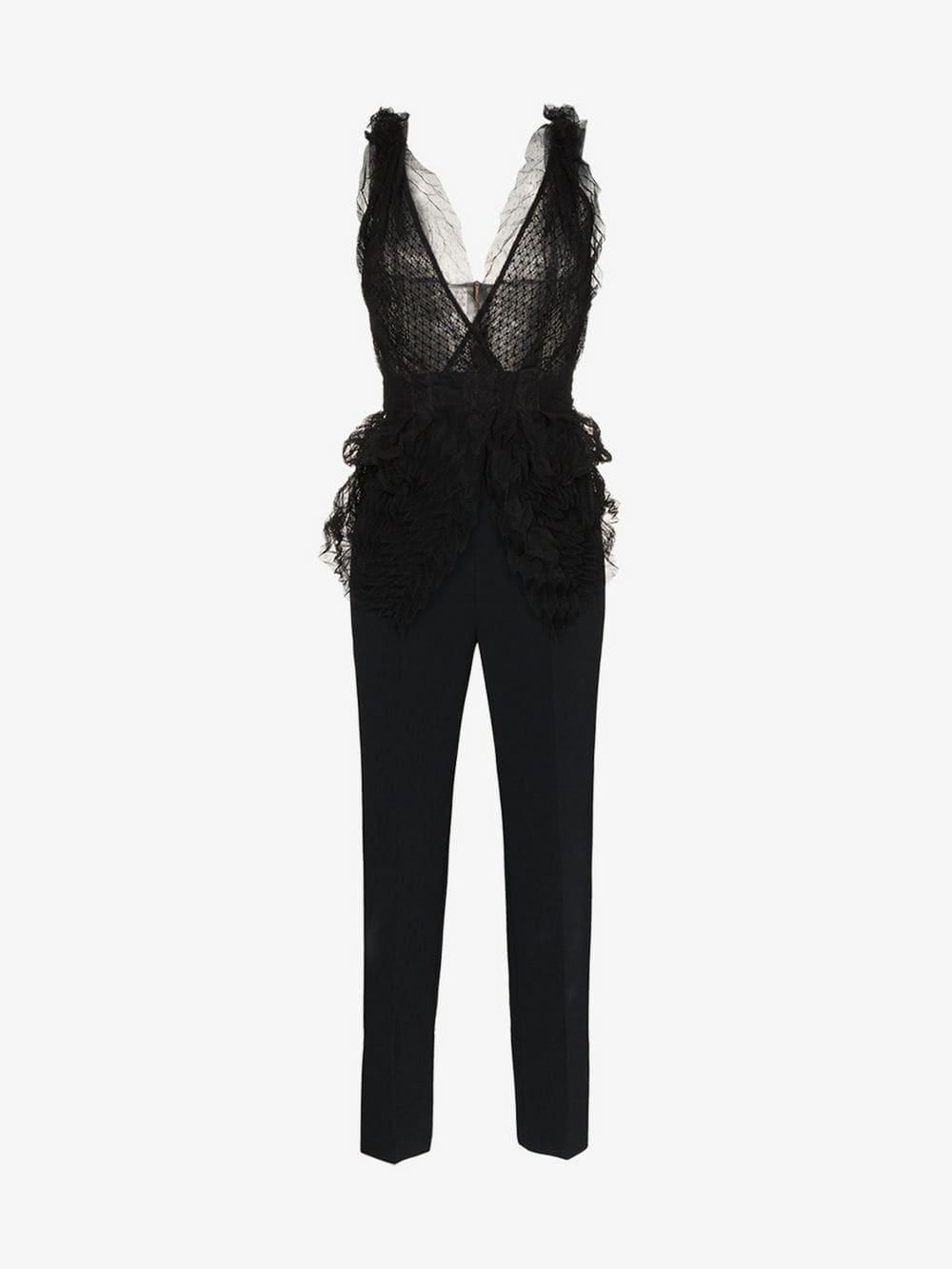 Roland Mouret Almendro V-neck mesh detail jumpsuit in black