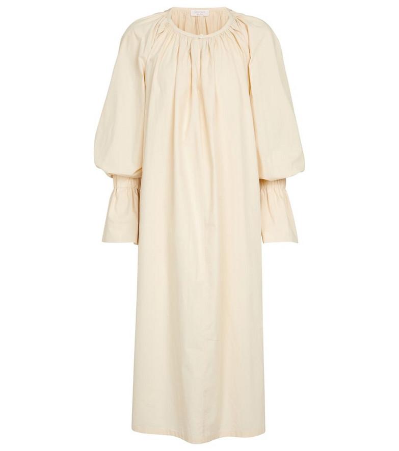 Deveaux New York Aurora oversized cotton midi dress in beige