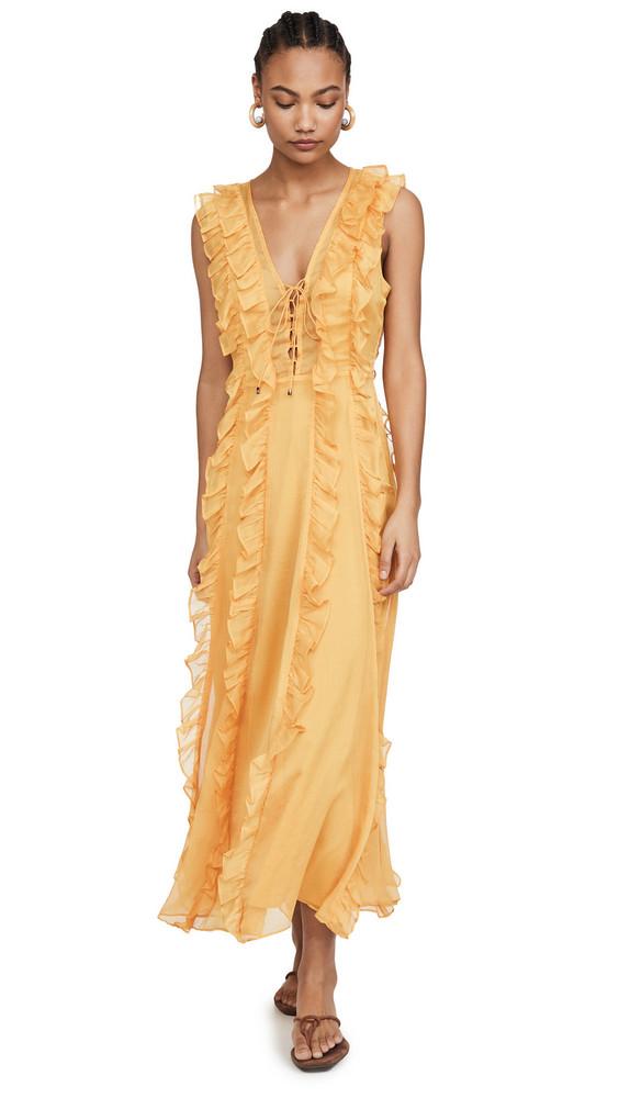 endless rose Ruffle Detailed Midi Dress in yellow