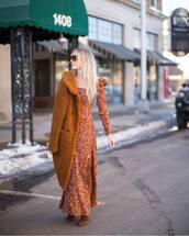 dress,maxi dress,beige dress,floral dress,over the knee boots,brown coat,faux fur coat