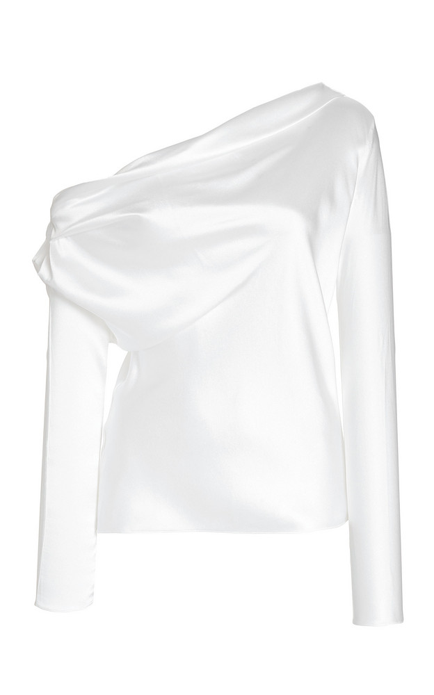 Cushnie Asymmetric Silk-Satin Top in white