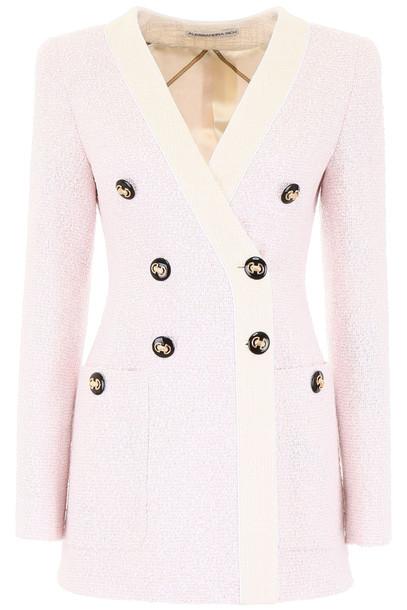 Alessandra Rich Long Metallic Tweed Blazer