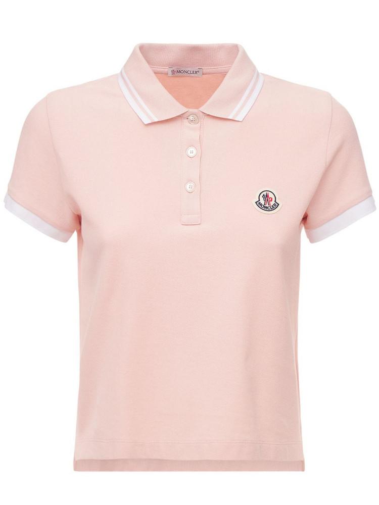 MONCLER Logo Cotton Jersey Polo Shirt in pink