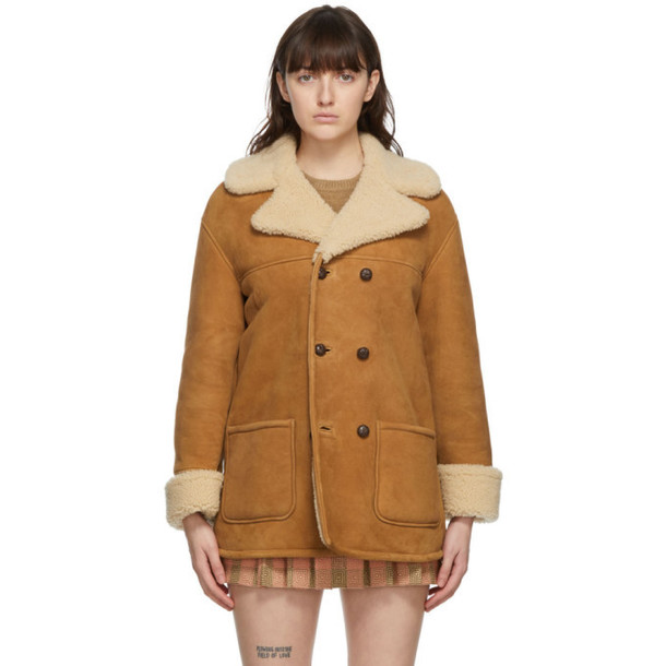 Gucci Tan and Beige Curly Shearling Double-Breasted Coat