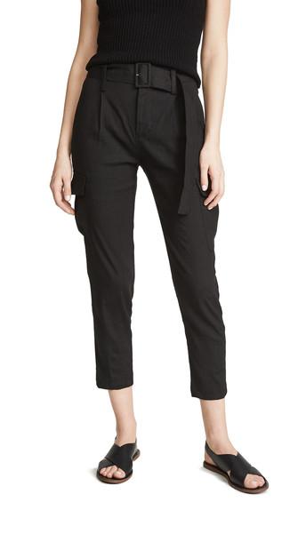 Vince Belted Linen Pants in black