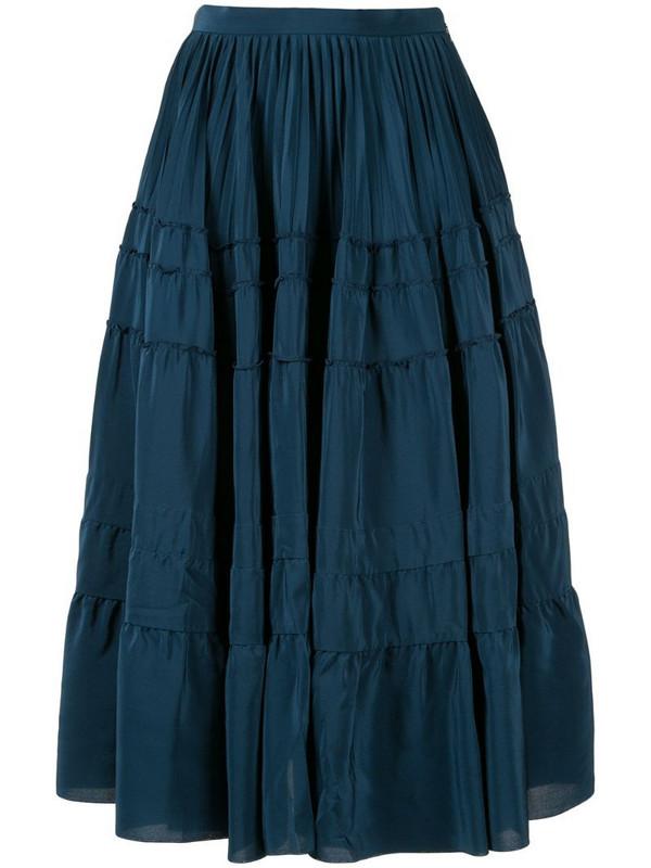 Rochas tiered midi skirt in blue