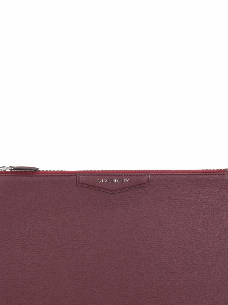 Givenchy Antigona Leather Clutch in burgundy