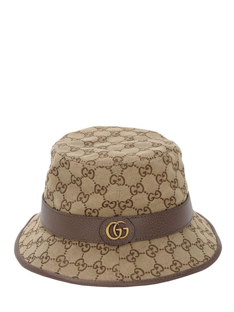 GUCCI Gg Cotton Canvas Bucket Hat in beige