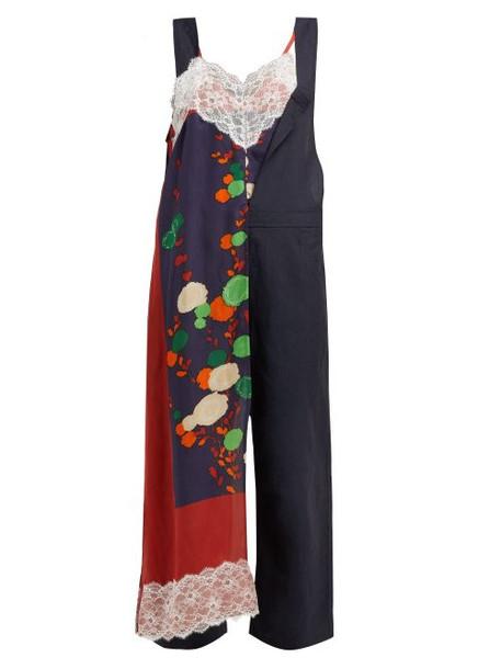 Junya Watanabe - Contrast Panel Wool And Linen Blend Jumpsuit - Womens - Navy Multi