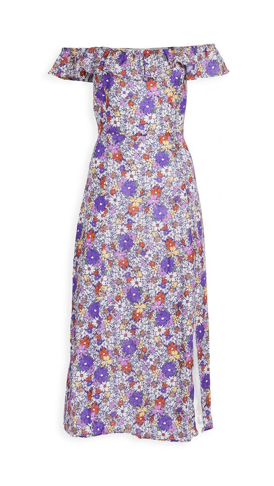 WAYF Ruffle Neck Flounce Midi Dress in purple