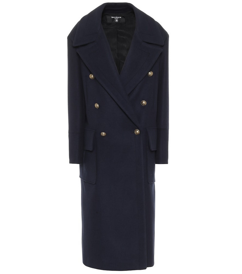 Balmain Wool and cashmere coat in blue