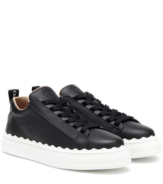 Chloé Lauren leather sneakers in black