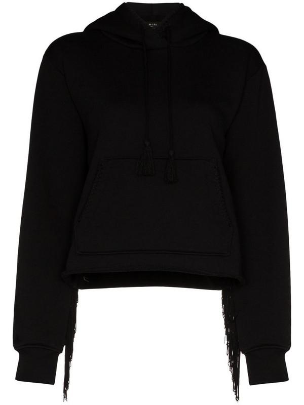 AMIRI fringed hooded sweatshirt in black