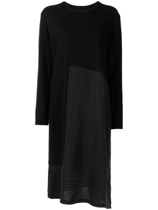 Y's panelled asymmetric hem dress in black