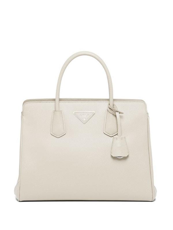 Prada medium Saffiano leather handbag in white