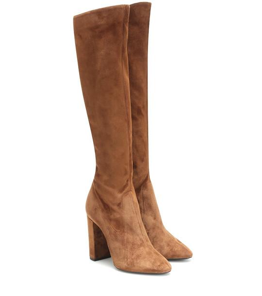 Saint Laurent Lou 105 suede knee-high boots in brown