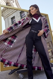 coat,gingham,fall outfits,zendaya,celebrity,sweater,pants,turtleneck sweater