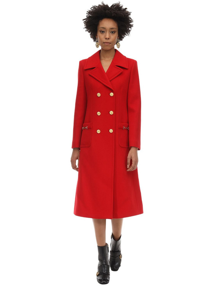 GUCCI Long Wool Coat in red