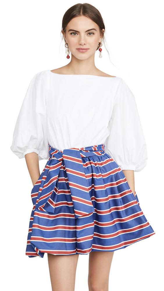 Stella Jean Mini Dress With Striped Skirt in blue