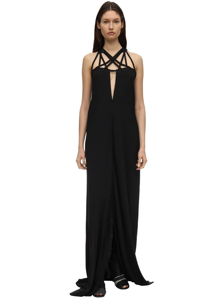 RICK OWENS Crepe Long Dress W/ Crisscrossed Straps in black