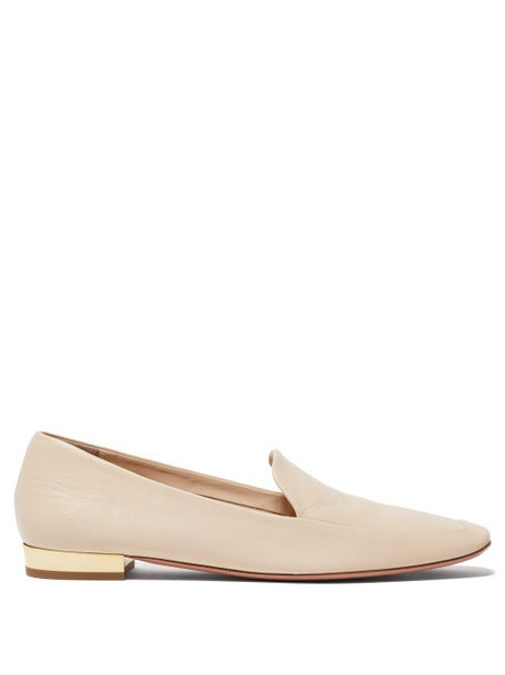 Aquazzura - Greenwich Smooth Leather Loafers - Womens - Cream