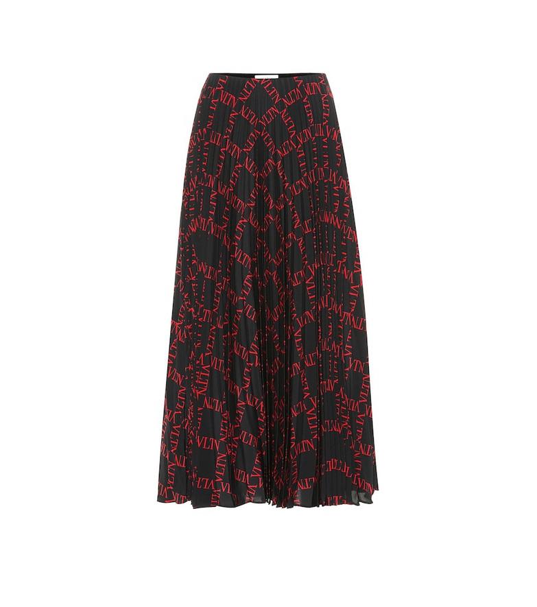 Valentino Printed pleated silk midi skirt in black