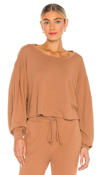 Lanston Porter Drape Sleeve Pullover in Brown in camel