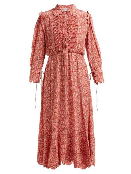 Horror Vacui - Electra Floral Print Silk Midi Dress - Womens - Red Multi