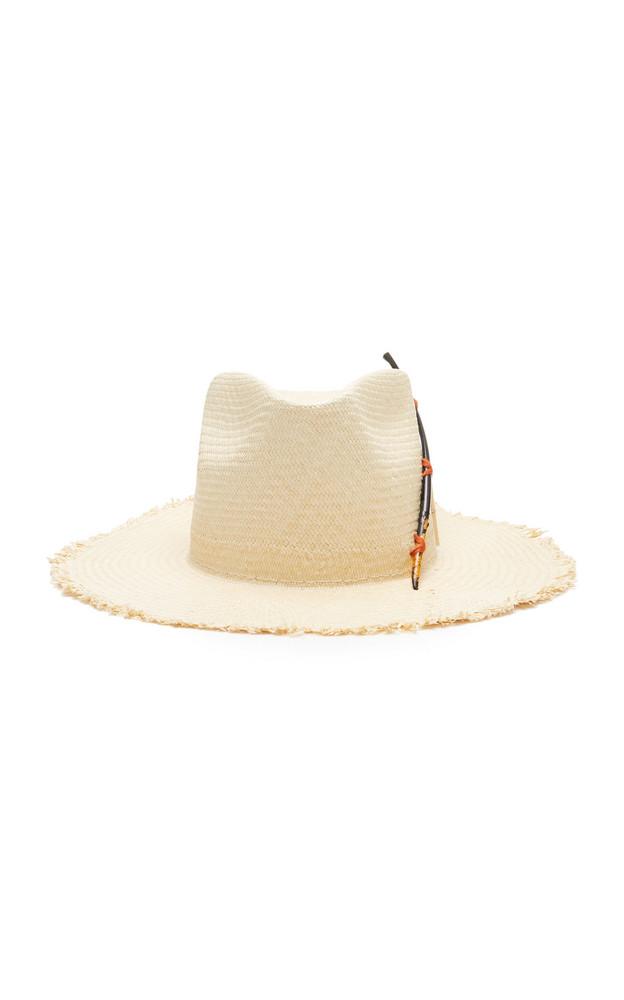 Nick Fouquet Black Bird Straw Hat in white