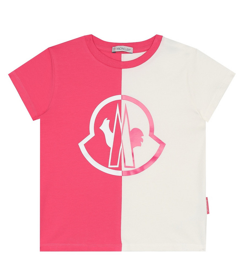 Moncler Enfant Logo stretch-cotton T-shirt in pink