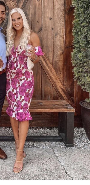 dress light pink and white dress midi dress ruffle dress pink dress instagram