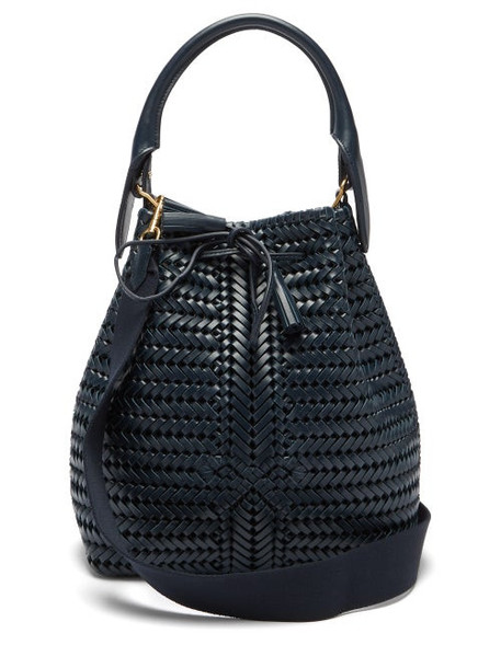 Anya Hindmarch - The Neeson Woven Leather Bucket Bag - Womens - Navy