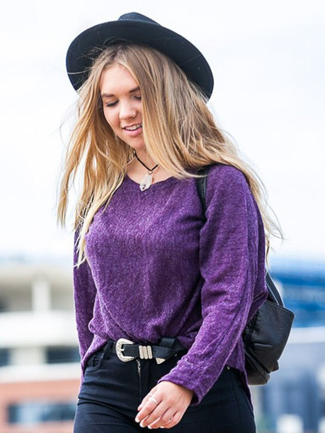 sweater gamiss purple streetstyle casual style trendy