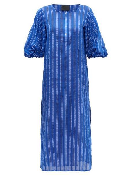 Love Binetti - Stir It Up Striped Cotton Dress - Womens - Blue