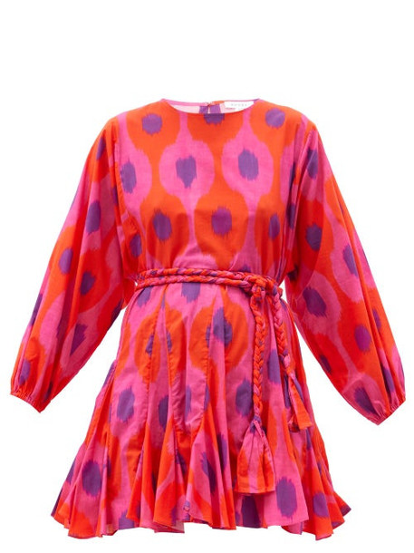 Rhode - Ella Belted Ikat-print Cotton Mini Dress - Womens - Pink Multi